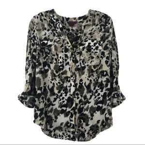 212 Collection Animal Print Top Rolled Sleeves Top
